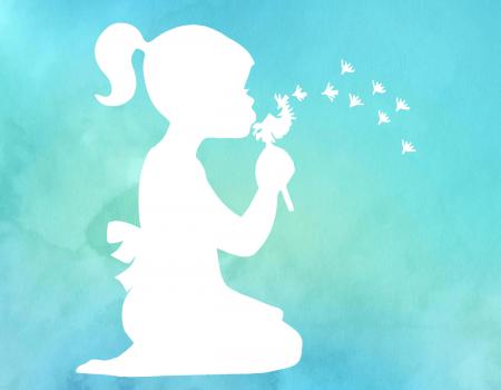 Watercolor kleines Mädchen mit Pusteblume