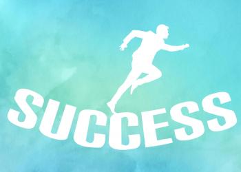 Watercolor Mann rennt Richtung Erfolg