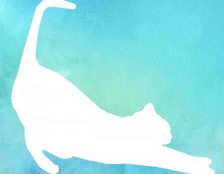 Watercolor streckende Katze