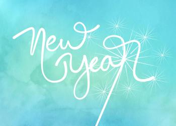 Watercolor Happy New Year