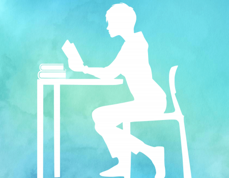Watercolor Frau liest am Schreibtisch