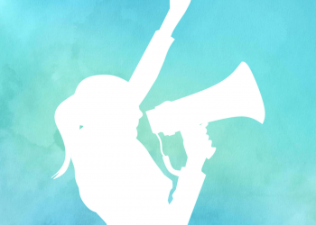 Watercolor Frau ruft in ein Megafon