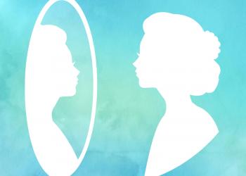 Watercolor Frau im Spiegel