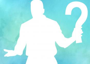 Watercolor Mann mit Fragezeichen in der Hand